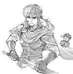 2boys armor blush cape celice_(fire_emblem) cosplay fire_emblem fire_emblem:_monshou_no_nazo fire_emblem:_seisen_no_keifu fire_emblem_heroes gloves headband highres long_hair male_focus marth marth_(cosplay) monochrome multiple_boys ponytail short_hair smile sword tiara tomentomob weapon