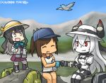 3girls :d air_defense_hime backpack bag binoculars black_footwear black_hair blouse boots brown_hair commentary_request cross-laced_footwear dated dress eating fang food gloves hamu_koutarou hat i-401_(kantai_collection) kantai_collection lace-up_boots long_hair mountain multicolored_hair multiple_girls naganami_(kantai_collection) onigiri open_mouth pleated_skirt ponytail red_eyes school_uniform shinkaisei-kan short_ponytail skirt sleeveless sleeveless_dress smile swimsuit swimsuit_under_clothes white_blouse white_hair