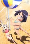 2girls absurdres aleksandra_i_pokryshkin arms_up ass bandaid bandaid_on_face barefoot beach_volleyball bikini black_eyes black_hair blonde_hair blue_bikini blue_eyes blue_hairband blush brave_witches breasts butt_crack collarbone day eyebrows_visible_through_hair flat_chest grin hairband halter_top halterneck highres jumping kanno_naoe kneepits lens_flare long_hair magazine_scan mc_axis medium_breasts multiple_girls navel official_art open_mouth outdoors pink_bikini print_bikini round_teeth sand satou_michio scan short_hair smile star star_print swimsuit teeth thigh_gap tongue volleyball_net world_witches_series