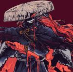 1boy ajirogasa blood bloody_weapon cloak crazy_smile drawing_sword fate/grand_order fate_(series) hat hidden_face japanese_clothes katana long_hair okada_izou_(fate) red_eyes red_skin sharp_teeth sword teeth weapon
