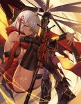 1girl ahoge arm_guards armored_boots black_bow boots bow breasts cleavage commentary dark_skin fate/grand_order fate_(series) hair_between_eyes hair_bow hair_ornament hair_over_one_eye holding holding_weapon knees_to_chest knees_up large_breasts legs_crossed long_hair okita_souji_(alter)_(fate) okita_souji_(fate)_(all) orangesekaii red_scarf scarf silver_hair sitting solo sweat tassel tied_hair weapon yellow_eyes