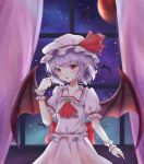 1girl absurdres bat bat_wings bracelet dress fang hat highres jewelry liuli88 looking_at_hand mob_cap moon night night_sky purple_hair red_moon remilia_scarlet short_hair sky touhou white_dress wings