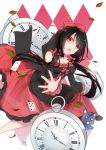 1girl :o absurdres alice_in_wonderland ass bare_legs bare_shoulders black_hair bow breasts card cat cleavage clock_eyes commentary commentary_request date_a_live detached_sleeves dress frilled_dress frills gothic_lolita hair_bow heterochromia highres leaf lolita_fashion long_hair looking_at_viewer medium_breasts mo_(pixiv9929995) multicolored multicolored_clothes multicolored_dress playing_card pocket_watch reaching_out red_bow red_eyes roman_numerals see-through skirt_hold solo symbol-shaped_pupils tokisaki_kurumi twintails watch yellow_eyes