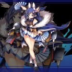 1girl animal_ears azur_lane blue_eyes blue_hair breasts detached_sleeves fan folding_fan full_body hair_ornament highres holding holding_fan jianren jintsuu_(azur_lane) large_breasts long_hair long_sleeves looking_at_viewer obi official_art ribbon sash skirt smile solo standing tail turret white_skirt wide_sleeves zoom_layer