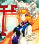 1girl blonde_hair commentary_request dress fox_tail frills hands_in_opposite_sleeves hat multiple_tails multiple_torii ofuda orange_eyes pillow_hat qqqrinkappp shikishi short_hair smile tabard tail touhou traditional_media yakumo_ran