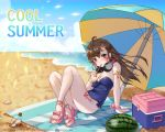 1girl 2018 ahoge arm_support armlet bangs bare_legs bare_shoulders beach blue_bow blue_sky blue_swimsuit body_writing bottle bow bow_footwear breasts brown_eyes brown_hair character_name clouds cup d.va_(overwatch) dated day drink drinking drinking_glass drinking_straw english eyelashes facepaint facial_mark fingernails floating_hair food fruit full_body glint hair_between_eyes hair_ornament hairclip hand_up headphones headphones_around_neck high_heels highres holding holding_drinking_glass ice_block jewelry knees_up legs lemonade letter long_fingernails long_hair looking_at_viewer medium_breasts nail_polish ocean outdoors overwatch pink_bow pink_legwear pink_nails pink_ribbon pinky_out ribbon sand shell sitting sky solo strapless strapless_swimsuit strappy_heels swimsuit tikeworld toeless_legwear toenail_polish toenails toes water watermelon whisker_markings wind wrist_ribbon