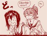2girls comic dated girls_und_panzer kawashima_momo koyama_yuzu left-to-right_manga long_hair monochrome monocle multiple_girls ooarai_school_uniform red rosmino school_uniform serafuku short_hair tegaki tegaki_draw_and_tweet translation_request twitter_username