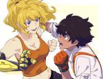 1boy 1girl absurdres black_hair blonde_hair breasts cleavage dark_skin dark_skinned_male dodging fighting freckles gloves highres ishmaiah_dado mechanical_arm motion_lines open_mouth orange_gloves orange_shirt oscar_pine prosthesis punching rwby shirt simple_background smile spoilers suspenders tank_top upper_body violet_eyes white_background white_shirt yang_xiao_long