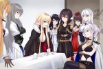 6+girls aiguillette azur_lane bangs belt bismarck_(azur_lane) black_choker black_dress black_footwear black_hair black_legwear blonde_hair blue_eyes boots breast_hold breasts brown_eyes brown_hair bustier choker cleavage cross cross_necklace crossed_arms detached_sleeves dress earrings enterprise_(azur_lane) epaulettes eternity_(pixiv8012826) gloves grey_hair hair_between_eyes hiei_(azur_lane) highres jacket jacket_on_shoulders jewelry large_breasts legs_crossed long_hair long_sleeves looking_at_another mikasa_(azur_lane) military military_uniform military_vehicle multiple_girls necklace north_carolina_(azur_lane) pantyhose parody pleated_skirt red_dress red_eyes saint-louis_(azur_lane) shirt silver_hair sitting skirt smile smirk table tablecloth thigh-highs thigh_boots thigh_strap underbust uniform violet_eyes washington_(azur_lane) white_dress white_gloves white_hair white_jacket white_shirt zuikaku_(azur_lane)