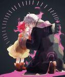 1boy 1girl aura boots bow cape dark_aura dress fa facial_mark fire_emblem fire_emblem:_fuuin_no_tsurugi fire_emblem:_kakusei fire_emblem_heroes forehead_mark gimurei green_eyes hood hood_down long_sleeves male_my_unit_(fire_emblem:_kakusei) mamkute my_unit_(fire_emblem:_kakusei) nonomori_(anst_nono) open_mouth pointy_ears purple_hair robe short_hair white_bow white_hair