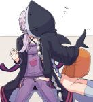 2girls all_fours amekaze_yukinatsu animal_costume black_jacket braid cellphone commentary_request dress hand_on_another's_leg hood hood_up hoodie jacket kiss kizuna_akari long_braid long_hair low_twintails multiple_girls orange_skirt phone purple_hair short_hair_with_long_locks silver_hair sitting skirt socks strapless strapless_dress surprised tube_dress twin_braids twintails very_long_hair vocaloid voiceroid yuri yuzuki_yukari