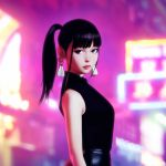 1girl black_eyes black_hair blurry blurry_background closed_mouth cover_image earrings ilya_kuvshinov jewelry lips long_hair looking_at_viewer original ponytail profile sleeveless solo standing