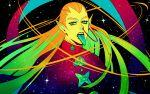 1boy blonde_hair diamond_wa_kudakenai ear_piercing gakuran green_tongue hazekura_mikitaka jojo_no_kimyou_na_bouken long_hair male_focus nose_piercing piercing pointy_ears school_uniform solo space star_(sky) tariah_furlow tongue tongue_out upper_body