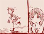 1girl comic dated girls_und_panzer left-to-right_manga monochrome nishizumi_miho ooarai_school_uniform red rosmino school_uniform serafuku short_hair tegaki tegaki_draw_and_tweet twitter_username