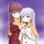 2girls absurdres bangs blue_eyes blunt_bangs blush brown_hair coat eyebrows_visible_through_hair hair_ornament hair_scrunchie hand_on_another's_hip heart highres long_hair multiple_girls new_game! open_mouth orange_scarf ponytail red_coat red_scrunchie sainohikari scarf scrunchie shared_scarf silver_hair smile standing suzukaze_aoba takimoto_hifumi twintails very_long_hair violet_eyes white_coat winter_clothes winter_coat
