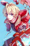 1boy blonde_hair blue_eyes looking_at_viewer male_focus short_hair shulk simple_background smile sword weapon xenoblade xenoblade_(series) xenoblade_1 xenoblade_2 zin_(mame_denkyu)