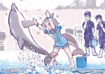 /\/\/\ 1boy 2girls :d alternate_footwear arms_up baseball_cap black_hair blowhole blue_hair blush boots bracelet bucket commentary common_bottlenose_dolphin_(kemono_friends) dolphin dolphin_tail dress english_commentary eyebrows_visible_through_hair frilled_dress frills grey_hair hat japari_symbol jewelry kemono_friends leaning_forward multicolored_hair multiple_girls neckerchief open_mouth ponytail sailor_collar short_hair short_sleeves smile sparkle splashing star tanaka_kusao uniform watch water