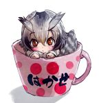 1girl bird_tail bird_wings blonde_hair check_translation coat cup eyebrows_visible_through_hair grey_hair head_wings highres in_container in_cup kemono_friends long_sleeves multicolored_hair northern_white-faced_owl_(kemono_friends) owl_ears short_hair solo takami_masahiro teacup translated white_hair wings