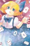1girl alice_margatroid alice_margatroid_(pc-98) blonde_hair blue_eyes card child hair_ribbon highres neck_ribbon ribbon shiz_(#0077) short_hair skirt solo suspender_skirt suspenders touhou touhou_(pc-98) traditional_media watercolor_(medium) younger