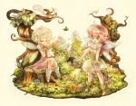 2girls :d animal bangs bare_arms bug butterfly buttons closed_eyes detached_wings dress fairy fairy_wings fantasy flower full_body hair_between_eyes holding holding_flower insect knees_together_feet_apart leaf legs_apart long_hair multiple_girls open_mouth original pink_dress pink_hair plant pointy_ears short_hair sitting sleeveless sleeveless_dress smile squirrel standing sui_(petit_comet) tree_stump white_dress white_eyes white_hair wings