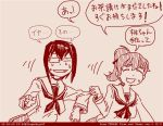 2girls comic dated girls_und_panzer kawashima_momo left-to-right_manga long_hair monochrome monocle multiple_girls ooarai_school_uniform red rosmino school_uniform serafuku short_hair tegaki tegaki_draw_and_tweet translation_request twitter_username