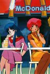 2girls 80s arm_behind_back blue_eyes blue_hair bracelet chair dirty_pair dress drinking_straw hand_on_lap hand_on_own_cheek highres jewelry kei_(dirty_pair) long_hair mcdonald's mouth_hold mughi multiple_girls official_art oldschool open_mouth pink_dress red_eyes redhead short_hair short_sleeves sitting sleeves_past_elbows takachiho_haruka yuri_(dirty_pair)