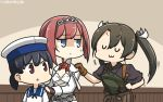 3girls :3 anger_vein ark_royal_(kantai_collection) bangs black_hair black_shirt blue_eyes blue_sailor_collar blunt_bangs bob_cut brown_eyes brown_gloves brown_hair brown_hakama camouflage cleavage_cutout closed_eyes commentary_request cowboy_shot dancing dress fingerless_gloves flower gloves grey_hair hairband hakama hakama_skirt hamu_koutarou hat hiburi_(kantai_collection) highres japanese_clothes jitome kantai_collection long_hair long_sleeves low_twintails multiple_girls muneate red_flower red_ribbon red_rose redhead remodel_(kantai_collection) ribbon rose sailor_collar sailor_dress sailor_hat shirt short_hair tiara twintails uwu white_hat zui_zui_dance zuikaku_(kantai_collection)