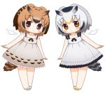 2girls alternate_costume angel_wings arms_at_sides bangs bare_arms bare_legs bare_shoulders bebeneko bird_tail blush brown_eyes brown_hair chibi collarbone commentary_request detached_wings dress eurasian_eagle_owl_(kemono_friends) expressionless eyebrows_visible_through_hair feathered_wings frilled_dress frills full_body gradient_hair grey_dress kemono_friends leaning_over legs_together looking_at_viewer multicolored_hair multiple_girls northern_white-faced_owl_(kemono_friends) orange_eyes sandals short_hair silver_hair simple_background sleeveless sleeveless_dress standing sundress symmetry tail white_background white_wings wings