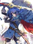 1boy armor blue_eyes blue_hair cape celice_(fire_emblem) cosplay falchion_(fire_emblem) fire_emblem fire_emblem:_kakusei fire_emblem:_seisen_no_keifu gloves haru_hikoya long_hair looking_at_viewer lucina lucina_(cosplay) male_focus marth_(fire_emblem:_kakusei) open_mouth solo sword tiara weapon