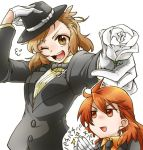2girls :d alternate_costume amou_kanade aqua_eyes bespectacled brown_hair clapping fedora flower glasses gloves hat looking_at_viewer multiple_girls open_mouth red_eyes redhead rose senki_zesshou_symphogear senki_zesshou_symphogear_xd_unlimited simple_background smile sunahi_arumi tachibana_hibiki_(symphogear) white_background white_flower white_gloves white_rose