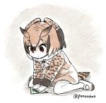 1girl artist_name bird_tail brown_eyes brown_hair coat commentary_request eurasian_eagle_owl_(kemono_friends) fur_collar head_wings kemono_friends long_sleeves multicolored_hair origami panzuban paper short_hair sitting solo twitter_username wariza