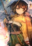 1girl absurdres arrow bangs bow_(weapon) brown brown_hair commentary_request flight_deck green_skirt hair hair_between_eyes hakama_skirt highres hiryuu_(kantai_collection) holding holding_bow_(weapon) holding_weapon japanese_clothes kaamin_(mariarose753) kantai_collection serious short_hair side_ponytail skirt solo weapon wide_sleeves