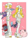 1boy 1girl aether_foundation_uniform blonde_hair braid brother_and_sister cabbie_hat clefairy cosmog crobat from_side gen_1_pokemon gen_2_pokemon gen_4_pokemon gen_7_pokemon gladio_(pokemon) gloves green_eyes hat highres holster kirakiya lillie_(pokemon) long_hair looking_to_the_side pink_background pokemon pokemon_(creature) pokemon_(game) pokemon_sm short_hair short_sleeves siblings simple_background thigh_holster twin_braids uniform weavile white_gloves white_hat