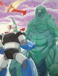 battle creature crossover emperor_majin_z_(artist) fighting godzilla godzilla_(series) highres kaijuu mazinger_z mazinger_z_(mecha) mecha monster size_difference
