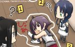 3girls ? blue_hair chalk_outline commentary_request corpse crime_scene dated death dying_message elbow_gloves gloves hair_ribbon hamu_koutarou highres kantai_collection long_hair low_twintails multiple_girls nachi_(kantai_collection) purple_hair ribbon sakawa_(kantai_collection) school_uniform serafuku side_ponytail sidelocks sleeveless suzukaze_(kantai_collection) thigh-highs twintails
