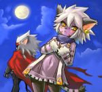 1boy 1girl animal_ears bangs beluga_damiens black_legwear cape cat_ears cat_girl cat_nose cat_tail closed_mouth clouds dakusuta earrings elh_melizee facial_mark full_moon fur_trim furry grey_hair hair_between_eyes hands_on_own_chest jewelry looking_at_viewer moon pantyhose red_cape short_hair sky solatorobo spiky_hair striped tail white_hair yellow_eyes