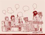 1boy 5girls comic dated father_and_daughter girls_und_panzer husband_and_wife kadotani_anzu kawashima_momo koyama_yuzu left-to-right_manga long_hair monochrome mother_and_daughter multiple_girls nishizumi_maho nishizumi_shiho nishizumi_tsuneo ooarai_school_uniform red rosmino school_uniform serafuku short_hair tegaki tegaki_draw_and_tweet twintails twitter_username