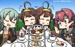 3girls :d afterimage ahoge blue_hair blue_sky brown_hair cake closed_eyes colombia_pose commentary cup dated day dessert eating food gloves hamu_koutarou headgear highres kantai_collection kinu_(kantai_collection) kongou_(kantai_collection) long_hair multiple_girls neck_ribbon open_mouth pastry red_eyes redhead remodel_(kantai_collection) ribbon sailor_collar serving short_hair sky smile suzuya_(kantai_collection) sweat table tea teacup tiered_tray