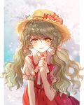 1girl baocaizi bow collared_dress commentary_request dress earrings floral_print flower flower_earrings food frilled_sleeves frills fruit grey_hair hair_ornament hair_ribbon hat hat_bow hat_flower highres holding holding_fruit jewelry light_blush long_hair looking_at_viewer neck_ribbon open_mouth original plaid plaid_bow print_ribbon red_bow red_dress ribbon short_sleeves slit_pupils smile solo straw_hat strawberry twintails wavy_hair white_ribbon yellow_eyes