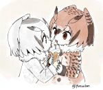 2girls brown_coat brown_eyes brown_hair coat commentary eating eurasian_eagle_owl_(kemono_friends) eyebrows_visible_through_hair food fur_collar gloves grey_coat grey_hair hair_between_eyes hands_together head_wings holding holding_food ice_cream ice_cream_cone kemono_friends licking long_sleeves multicolored_hair multiple_girls northern_white-faced_owl_(kemono_friends) panzuban sharing_food short_hair tongue tongue_out twitter_username upper_body white_gloves white_hair