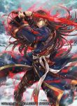 1boy belt blue_coat boots brown_hair coat copyright_name energy evil_grin evil_smile fire_emblem fire_emblem:_rekka_no_ken fire_emblem_cipher grin hagiya_kaoru holding holding_sword holding_weapon karel katana long_coat long_hair male_focus official_art sheath smile snow snowing solo sword tassel very_long_hair weapon yellow_eyes