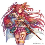 1girl armor bangs beads blue_armor blue_cape blue_flower bow breasts cape closed_mouth commentary_request company_name detached_sleeves eyebrows_visible_through_hair fingernails floating_hair floral_print flower gem glint hair_between_eyes hair_bow hair_ribbon hip_vent holding holding_sheath holding_sword holding_weapon japanese_armor katana kusazuri long_hair looking_at_viewer madogawa medium_breasts obi official_art orange_eyes pink_bow pink_skirt print_bow print_cape red_bow red_ribbon red_scarf redhead ribbon ribbon-trimmed_legwear ribbon_trim rope sash scabbard scarf sengoku_gensoukyoku serious sheath shimenawa sideboob sidelocks simple_background skirt solo standing sword thigh-highs two_side_up unsheathing v-shaped_eyebrows vambraces very_long_hair walking weapon white_background white_legwear wind zettai_ryouiki