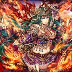 1girl arm_up armor bangs belt_buckle bikini_armor black_legwear blue_eyes blurry blurry_background breasts brown_belt buckle closed_mouth company_name cowboy_shot dragon_girl dragon_horns dragon_wings elbow_gloves eyebrows_visible_through_hair fire floating_hair forehead_jewel garter_straps gem gloves greatsword green_hair groin hair_between_eyes head_chain holding holding_weapon horns jewelry kaizoku_ookoku_koronbusu lace lace-trimmed_skirt large_breasts legs_together long_hair looking_at_viewer madogawa miniskirt navel necklace official_art open_mouth outstretched_arm pleated_skirt pointy_ears purple_skirt pyrokinesis red_gloves scale_armor sidelocks single_garter_strap single_glove skirt solo standing stomach thigh-highs vambraces very_long_hair weapon wind wings