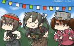 3girls black_hair blue_sky brown_hair commentary dancing dated day empty_eyes gloves hachimaki hair_between_eyes hakama_skirt hamu_koutarou headband highres japanese_clothes jitome kantai_collection kariginu magatama multiple_girls muneate partly_fingerless_gloves remodel_(kantai_collection) ryuujou_(kantai_collection) shaded_face short_hair sky sparkle string_of_flags taihou_(kantai_collection) tasuki twintails uwu visor_cap yugake zui_zui_dance zuikaku_(kantai_collection)