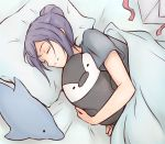 1girl animal bed bird closed_eyes commentary_request dolphin holding holding_animal ken_(kenta1922) long_hair love_live! love_live!_sunshine!! lying matsuura_kanan on_side penguin pillow purple_hair sleeping