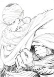 1boy cape clenched_hand commentary_request dragon_ball dragonball_z fighting_stance frown greyscale highres looking_at_viewer male_focus monochrome murata_yuusuke piccolo pointy_ears serious simple_background turban upper_body veins white_background