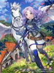 1girl armor blush dress field fire_emblem fire_emblem:_rekka_no_ken fire_emblem_cipher florina flower gloves green_eyes jewelry kawasumi_(japonica) long_hair looking_at_viewer official_art open_mouth pegasus_knight purple_hair smile solo thigh-highs weapon