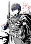 1boy armor cape elbow_gloves fire_emblem fire_emblem:_ankoku_ryuu_to_hikari_no_tsurugi fire_emblem:_monshou_no_nazo fire_emblem:_shin_ankoku_ryuu_to_hikari_no_tsurugi fire_emblem:_shin_monshou_no_nazo gloves greyscale holding holding_sword holding_weapon marth monochrome short_hair solo suzuki_rika sword tiara weapon