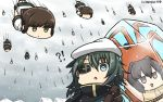 !? 6+girls black_skirt blizzard brown_eyes brown_gloves brown_hair cape clone commentary dated eyebrows_visible_through_hair eyepatch falling frozen fubuki_(kantai_collection) gloves green_eyes green_hair hair_between_eyes hamu_koutarou hat highres ise_(kantai_collection) kantai_collection kiso_(kantai_collection) lobster lobster_costume multiple_girls object_namesake remodel_(kantai_collection) sailor_hat short_hair short_sleeves skirt too_literal white_hat