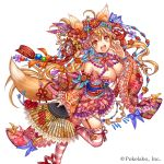1girl :d ahoge animal_ears bangs bare_shoulders beads bell blonde_hair blue_bow blue_choker blue_ribbon blush bow breasts choker commentary_request company_name detached_sleeves eyebrows_visible_through_hair fan floating_hair floral_print flower flower_knot folding_fan fox_ears fox_girl fox_tail frilled_sleeves frills hair_bell hair_between_eyes hair_bow hair_flower hair_ornament hair_ribbon hairclip hand_up holding holding_fan horizontal-striped_legwear japanese_clothes jingle_bell kanzashi kimono kimono_skirt large_breasts leg_up long_hair long_sleeves looking_at_viewer madogawa obi official_art open_mouth orange_eyes orange_flower pink_bow pink_flower pink_kimono pink_legwear pink_ribbon print_sleeves purple_flower red_flower red_ribbon red_rose ribbon rose sash sengoku_gensoukyoku short_kimono simple_background smile solo standing standing_on_one_leg strapless tail thigh-highs thigh_ribbon upper_teeth white_background white_legwear wide_sleeves yellow_bow yellow_ribbon